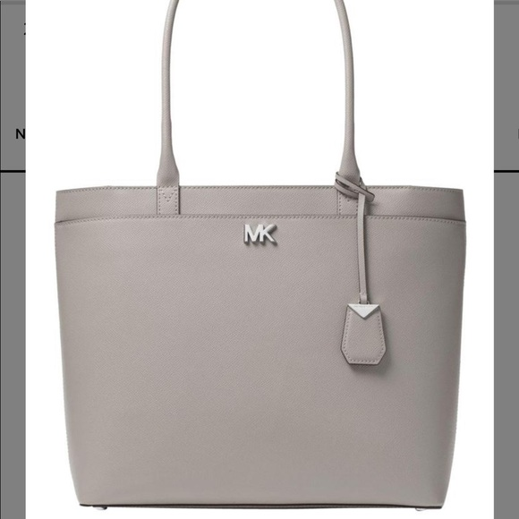 640a7e25ab4321 Michael Kors Bags | Mk Maddie Large Crossgrain Grey Leather Tote ...